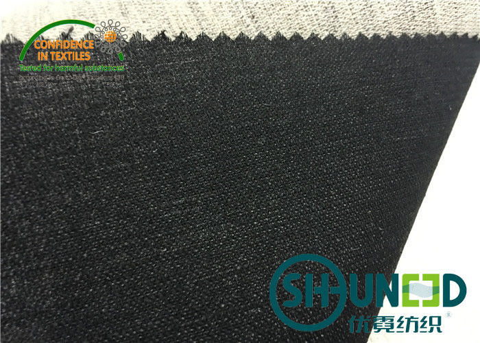 Black Hair Interlining Fabric Interfacing Heavy Weight For Men's Suit